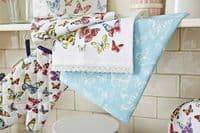 Cotton Tea Towel Pack Of 3 Butterfly Printed Multicoloured Kitchen dishcloth - 164469169704